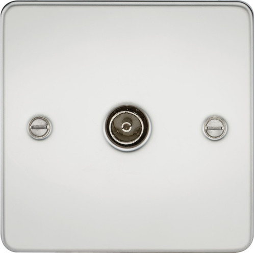 Flat Plate 1G TV Outlet (Non-Isolated) - Polished Chrome (DFL1FP0100PC)