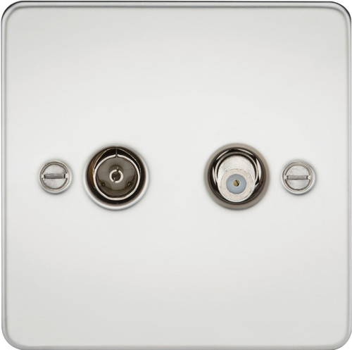 Flat Plate TV & SAT TV Outlet (Isolated) - Polished Chrome (DFL1FP0140PC)