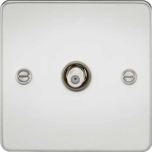 Flat Plate 1G SAT TV Outlet (Non-Isolated) - Polished Chrome (DFL1FP0150PC)