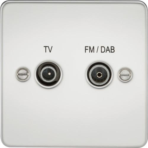 Flat Plate Screened Diplex Outlet (TV & FM DAB) - Polished Chrome (DFL1FP0160PC)