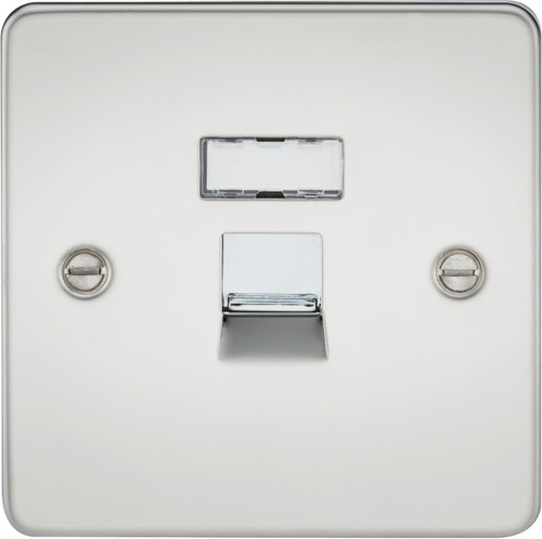 Flat Plate RJ45 Network Outlet - Polished Chrome (DFL1FPRJ45PC)