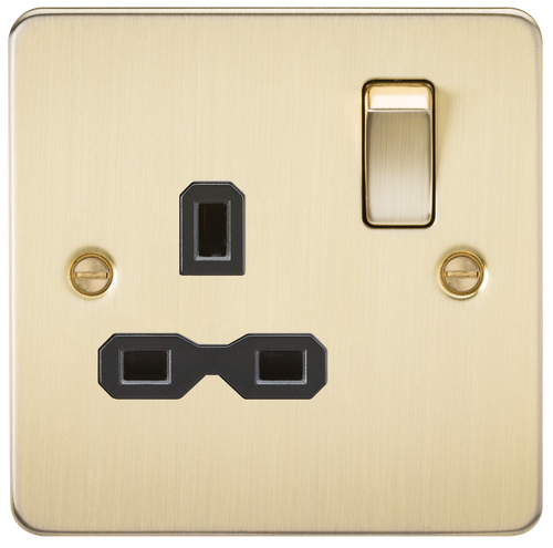 Flat Plate 13A 1G DP Switched Socket - Brushed Brass with Black Insert (DFL1FPR7000BB)