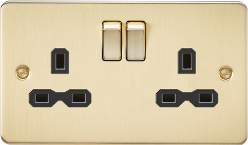 Flat Plate 13A 2G DP Switched Socket - Brushed Brass with Black Insert (DFL1FPR9000BB)