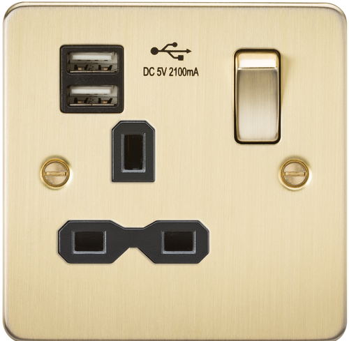 Flat plate 13A 1G switched socket with dual USB charger - Brushed Brass with Black Insert (DFL1FPR9901BB)