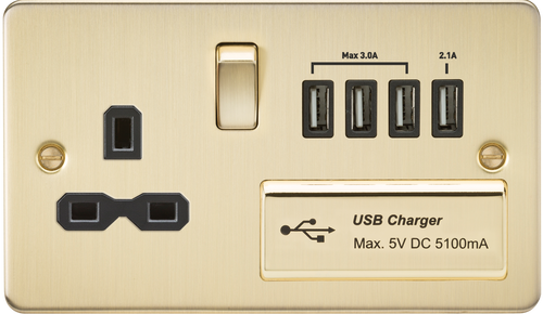Flat plate 13A switched socket with quad USB charger - brushed Brass with Black Insert (DFL1FPR7USB4BB)