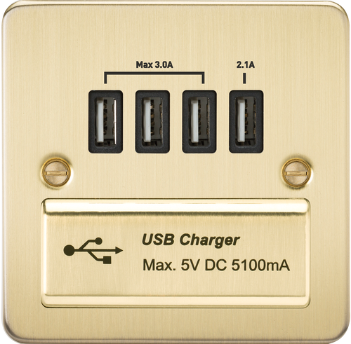 Flat Plate 1G Quad USB Charger Outlet 5V DC 5.1A - Brushed Brass with Black Insert (DFL1FPQUADBB)