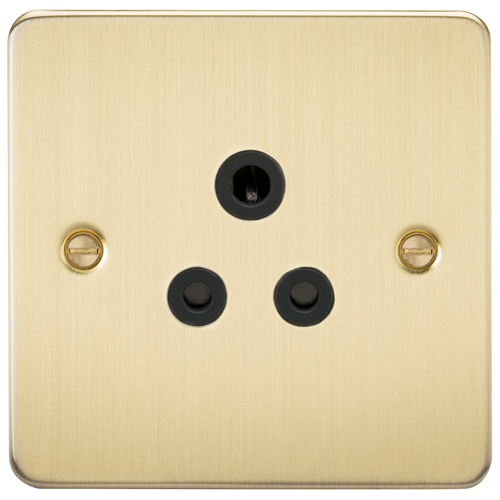 Flat Plate 5A Unswitched Socket - Brushed Brass with Black Insert (DFL1FP5ABB)