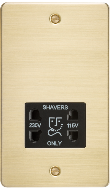 Flat Plate 115V/230V Dual Voltage Shaver Socket - Brushed Brass with Black Insert (DFL1FP8900BB)