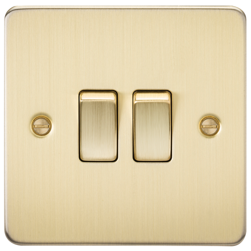 Flat Plate 10A 2G 2-Way Switch - Brushed Brass (DFL1FP3000BB)