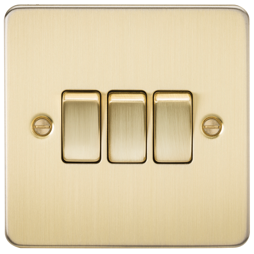 Flat Plate 10A 3G 2-Way Switch - Brushed Brass (DFL1FP4000BB)