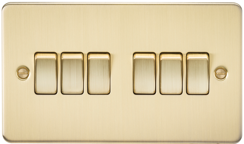 Flat Plate 10A 6G 2-Way Switch - Brushed Brass (DFL1FP4200BB)