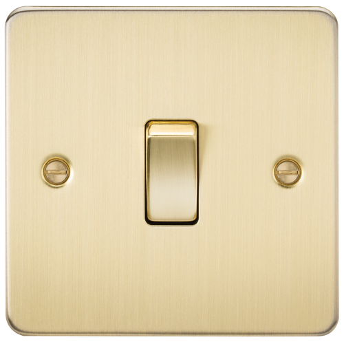 Flat Plate 10A 1G Intermediate Switch - Brushed Brass (DFL1FP1200BB)