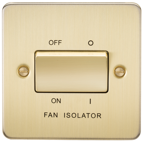 Flat Plate 10A 3 Pole Fan Isolator Switch - Brushed Brass (DFL1FP1100BB)