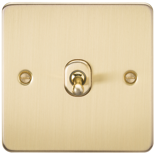 Flat Plate 10A 1G 2-Way Toggle Switch - Brushed Brass (DFL1FP1TOGBB)
