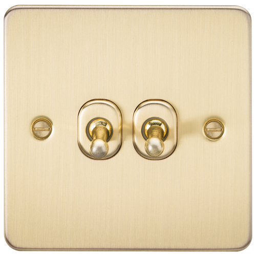 Flat Plate 10A 2G 2-Way Toggle Switch - Brushed Brass (DFL1FP2TOGBB)