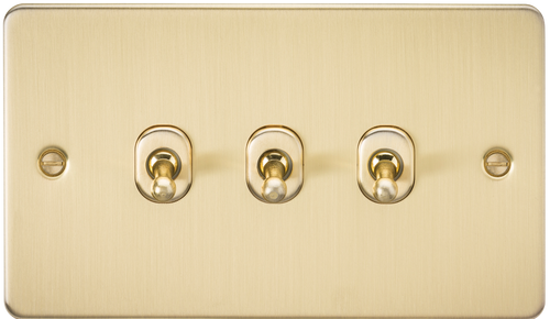 Flat Plate 10A 3G 2-Way Toggle Switch - Brushed Brass (DFL1FP3TOGBB)