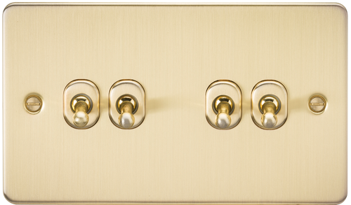 Flat Plate 10A 4G 2-Way Toggle Switch - Brushed Brass (DFL1FP4TOGBB)