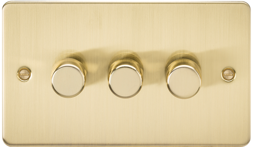 Flat Plate 3G 2-Way 10-200W (5-150W LED) Dimmer Switch - Brushed Brass (DFL1FP2183BB)