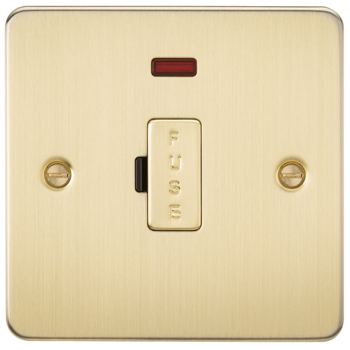 Flat Plate 13A Fused Spur Unit with Neon - Brushed Brass (DFL1FP6000NBB)