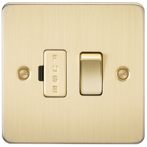 Flat Plate 13A Switched Fused Spur Unit - Brushed Brass (DFL1FP6300BB)