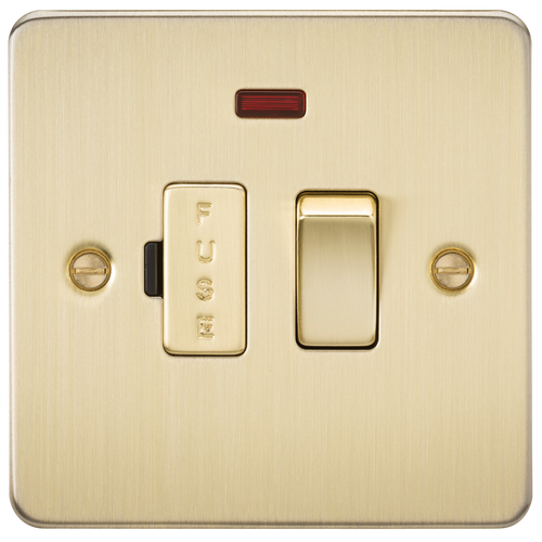Flat Plate 13A Switched Fused Spur Unit with Neon - Brushed Brass (DFL1FP6300NBB)