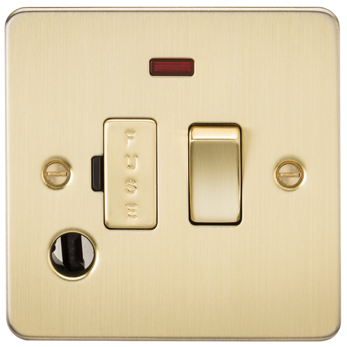 Flat Plate 13A Switched Fused Spur Unit with Neon and Flex Outlet - Brushed Brass (DFL1FP6300FBB)