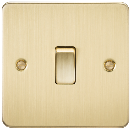 Flat Plate 20A 1G DP Switch - Brushed Brass (DFL1FP8341BB)