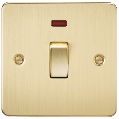 Flat Plate 20A 1G DP Switch with Neon - Brushed Brass (DFL1FP8341NBB)