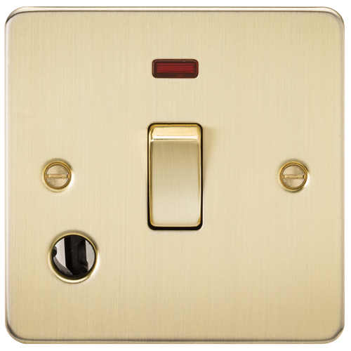 Flat Plate 20A 1G DP Switch with Neon & Flex Outlet - Brushed Brass (DFL1FP8341FBB)