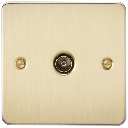 Flat Plate 1G TV Outlet (Non-Isolated) - Brushed Brass (DFL1FP0100BB)