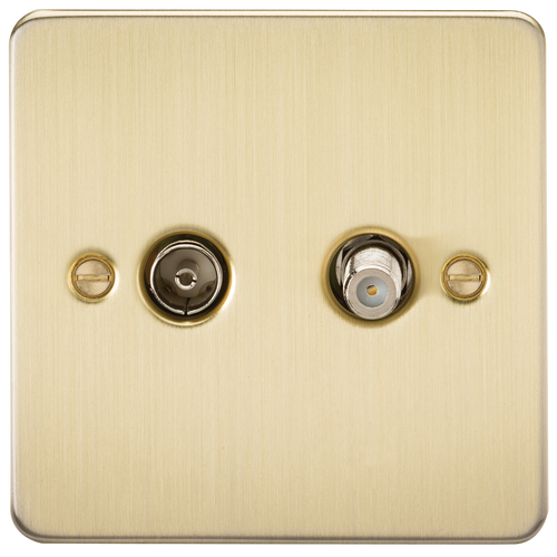 Flat Plate TV & SAT TV Outlet (Isolated) - Brushed Brass (DFL1FP0140BB)
