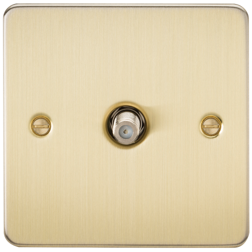 Flat Plate 1G SAT TV Outlet (Non-Isolated) - Brushed Brass (DFL1FP0150BB)