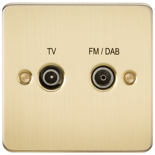 Flat Plate Screened Diplex Outlet (TV & FM DAB) - Brushed Brass (DFL1FP0160BB)