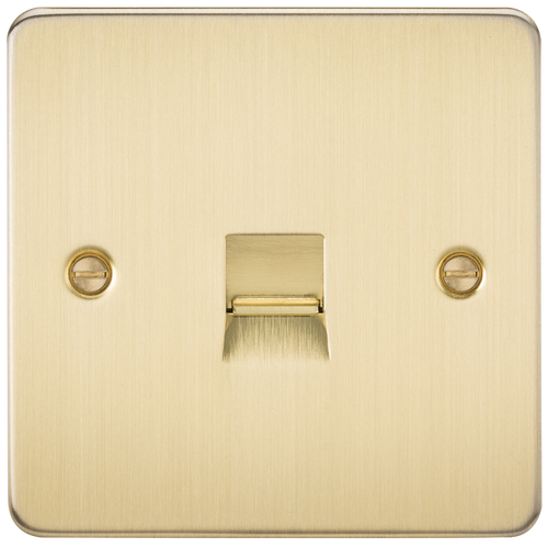Flat Plate Telephone Extension Socket - Brushed Brass (DFL1FP7400BB)