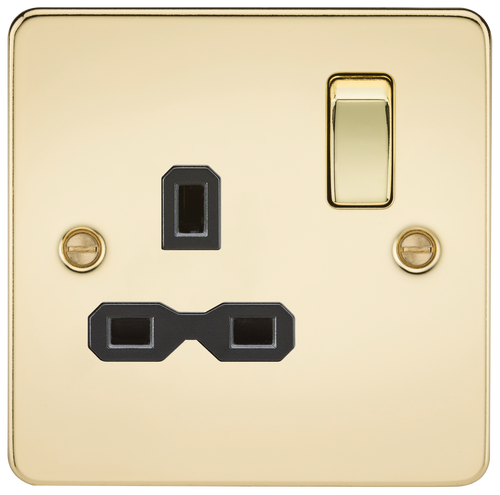 Flat Plate 13A 1G DP Switched Socket - Polished Brass with Black Insert (DFL1FPR7000PB)