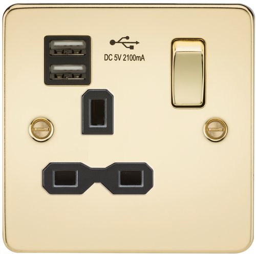 Flat plate 13A 1G switched socket with dual USB charger - Polished Brass with Black Insert (DFL1FPR9901PB)