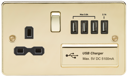 Flat plate 13A switched socket with quad USB charger - Polished Brass with Black Insert (DFL1FPR7USB4PB)