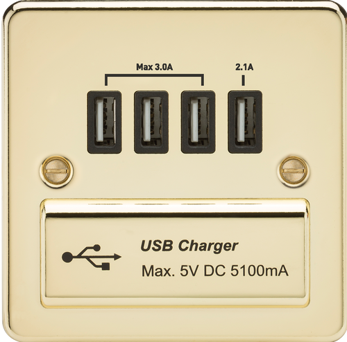 Flat Plate 1G Quad USB Charger Outlet 5V DC 5.1A - Polished Brass with Black Insert (DFL1FPQUADPB)