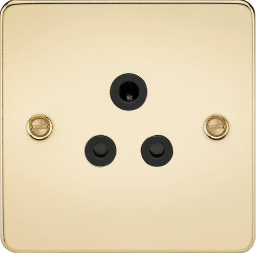 Flat Plate 5A Unswitched Socket - Polished Brass with Black Insert (DFL1FP5APB)
