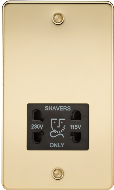 Flat Plate 115V/230V Dual Voltage Shaver Socket - Polished Brass with Black Insert (DFL1FP8900PB)