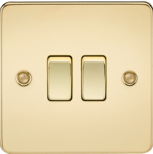 Flat Plate 10A 2G 2-Way Switch - Polished Brass (DFL1FP3000PB)