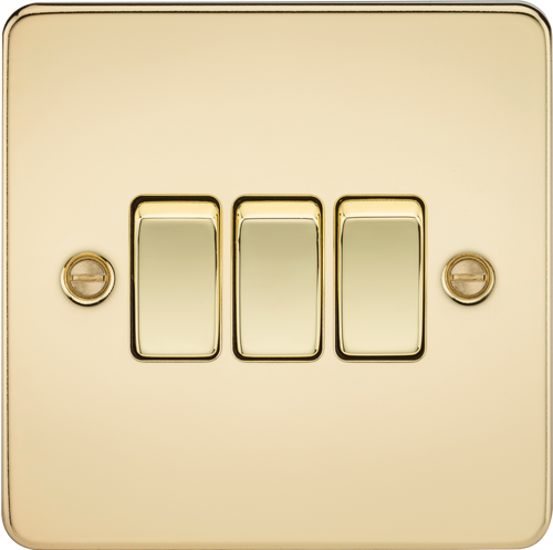 Flat Plate 10A 3G 2-Way Switch - Polished Brass (DFL1FP4000PB)