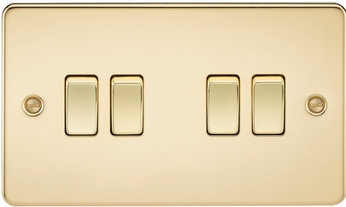 Flat Plate 10A 4G 2-Way Switch - Polished Brass (DFL1FP4100PB)