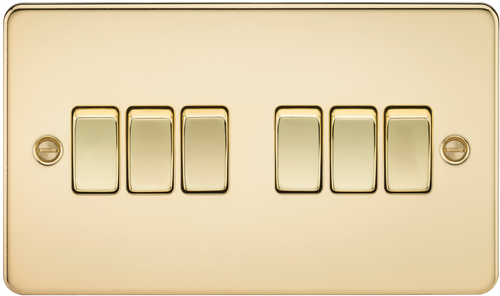 Flat Plate 10A 6G 2-Way Switch - Polished Brass (DFL1FP4200PB)