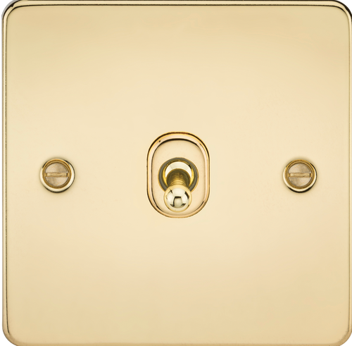 Flat Plate 10A 1G 2-Way Toggle Switch - Polished Brass (DFL1FP1TOGPB)