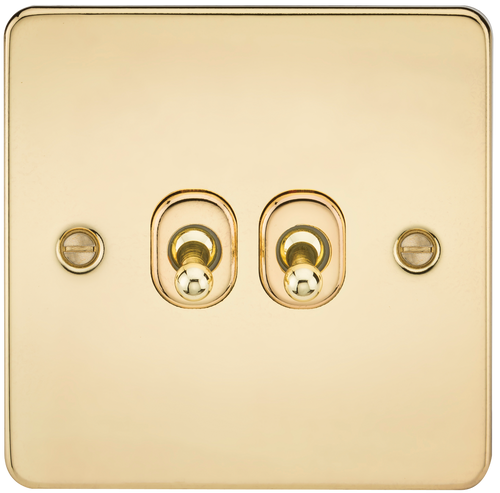 Flat Plate 10A 2G 2-Way Toggle Switch - Polished Brass (DFL1FP2TOGPB)