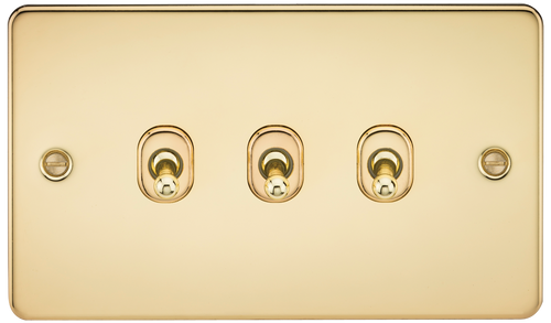 Flat Plate 10A 3G 2-Way Toggle Switch - Polished Brass (DFL1FP3TOGPB)