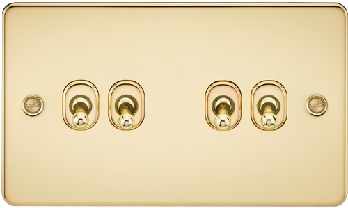 Flat Plate 10A 4G 2-Way Toggle Switch - Polished Brass (DFL1FP4TOGPB)