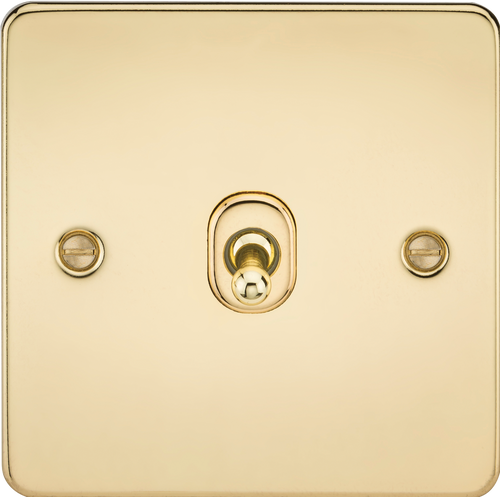 Flat Plate 10A 1G Intermediate Toggle Switch - Polished Brass (DFL1FP12TOGPB)