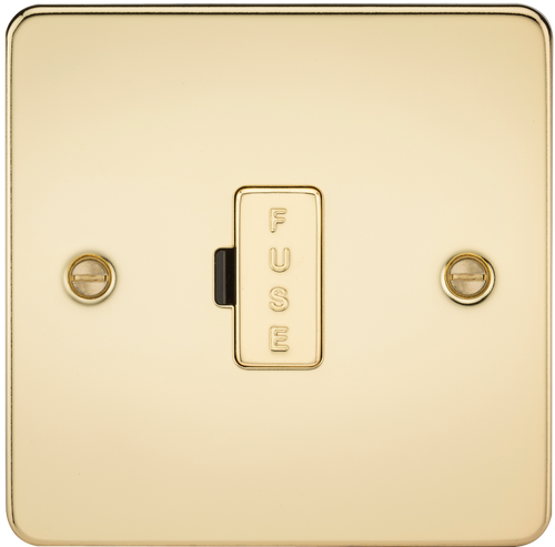 Flat Plate 13A Fused Spur Unit - Polished Brass (DFL1FP6000PB)